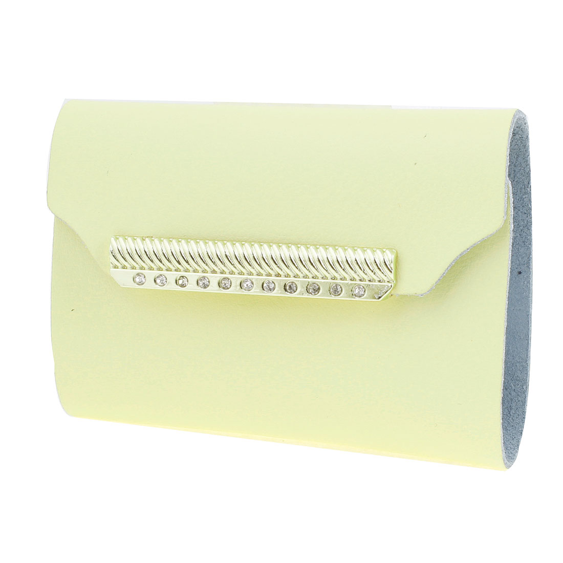 Yellow Faux Leather 26pcs Capacity Press Stud Bank Credit Card Pocket Case Holder