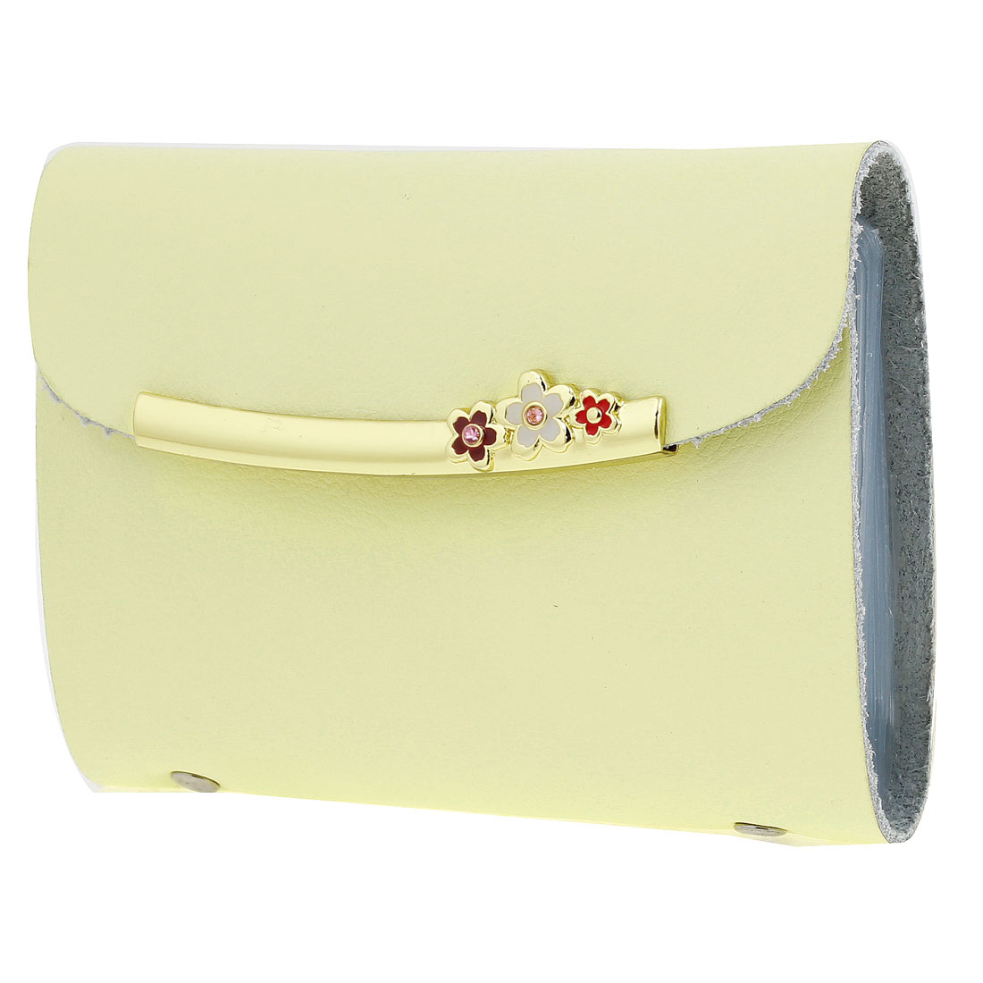 Yellow Faux Leather Flowers Decor Press Stud Bank Credit Card Pocket Case Holder