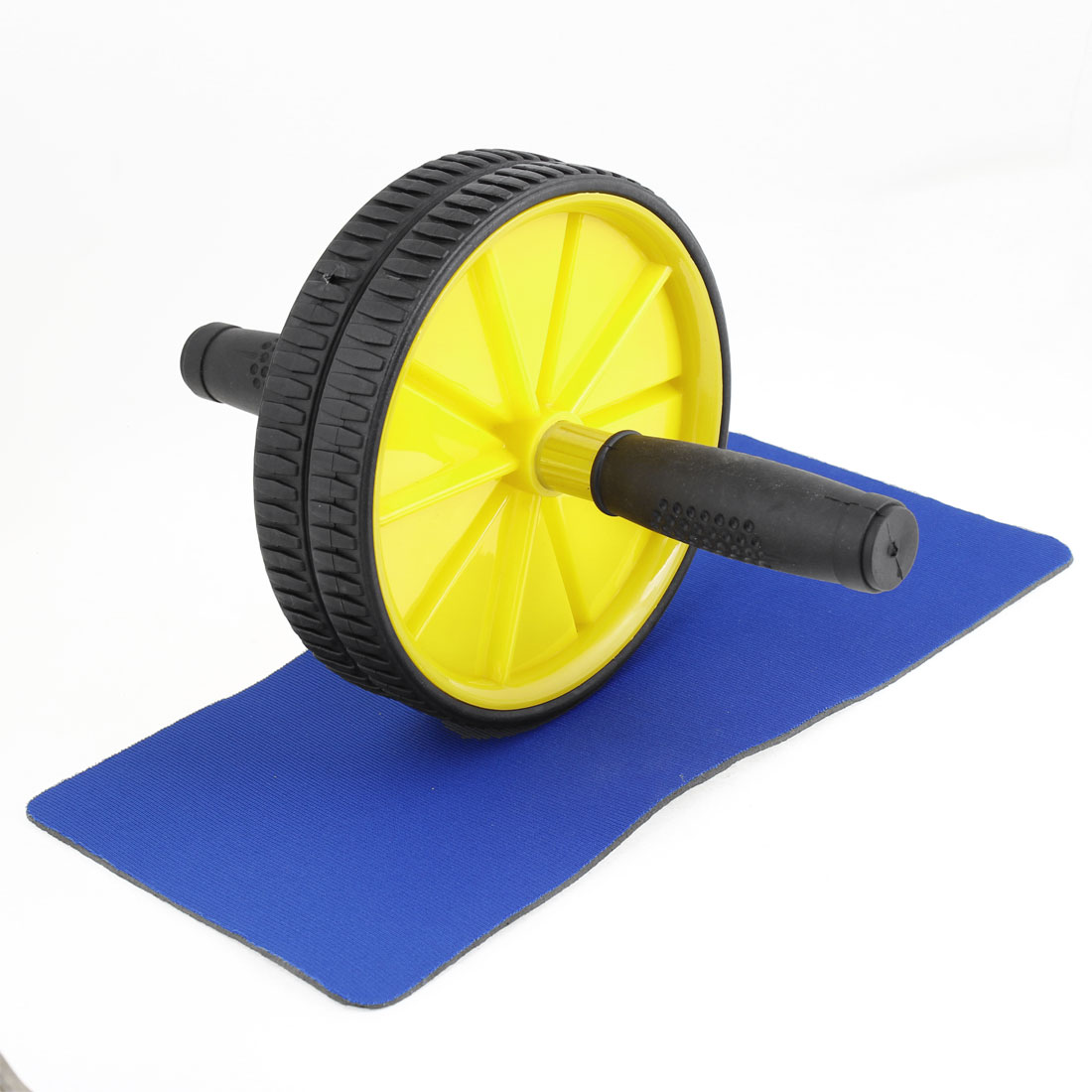 17.5cm Dual Yellow Plastic Wheels Plastic Coated Handle Grip Abdominal Roller