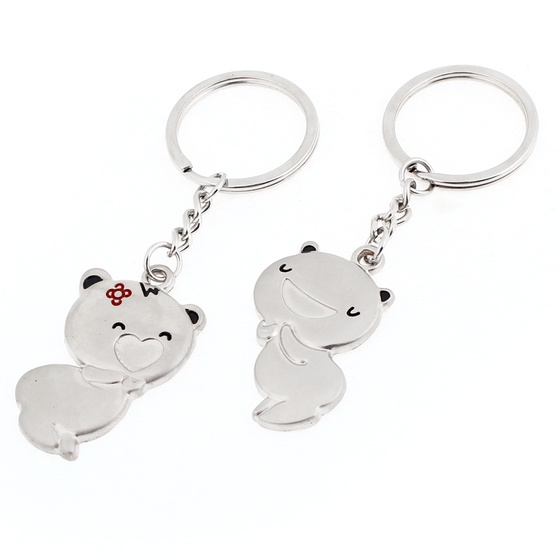 Pair Silver Tone Smile Cartoon Pig Pendant Keyrings Keychains for Lovers