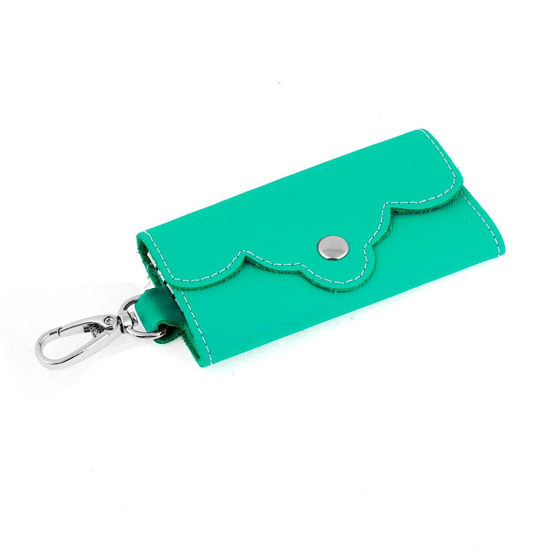 Green Faux Leather 5 Keyrings Foldable Keys Holder Case Purse Wallet
