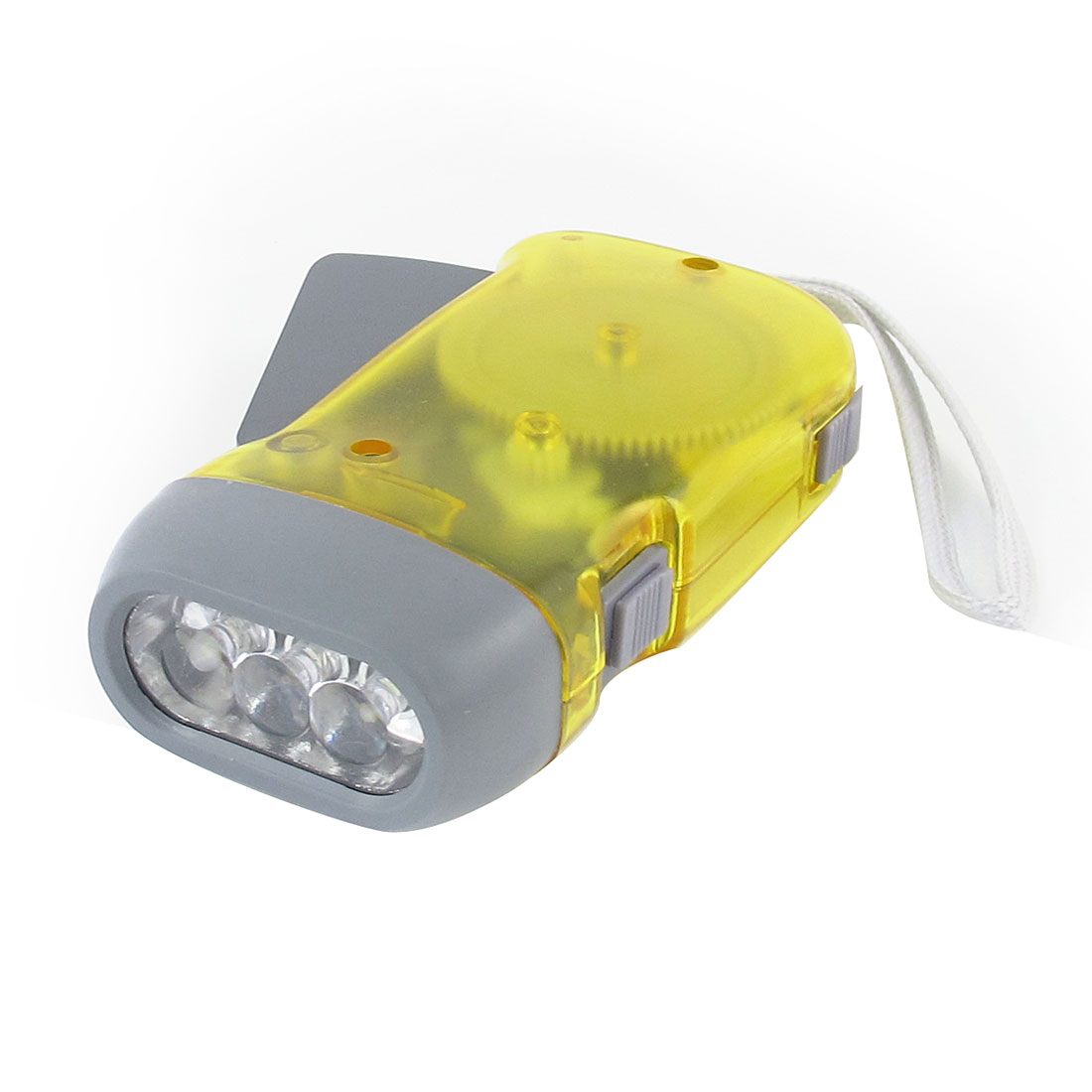 Travel Hand Pressing Recharger 3 LED Flashlight Clear Yellow Gray