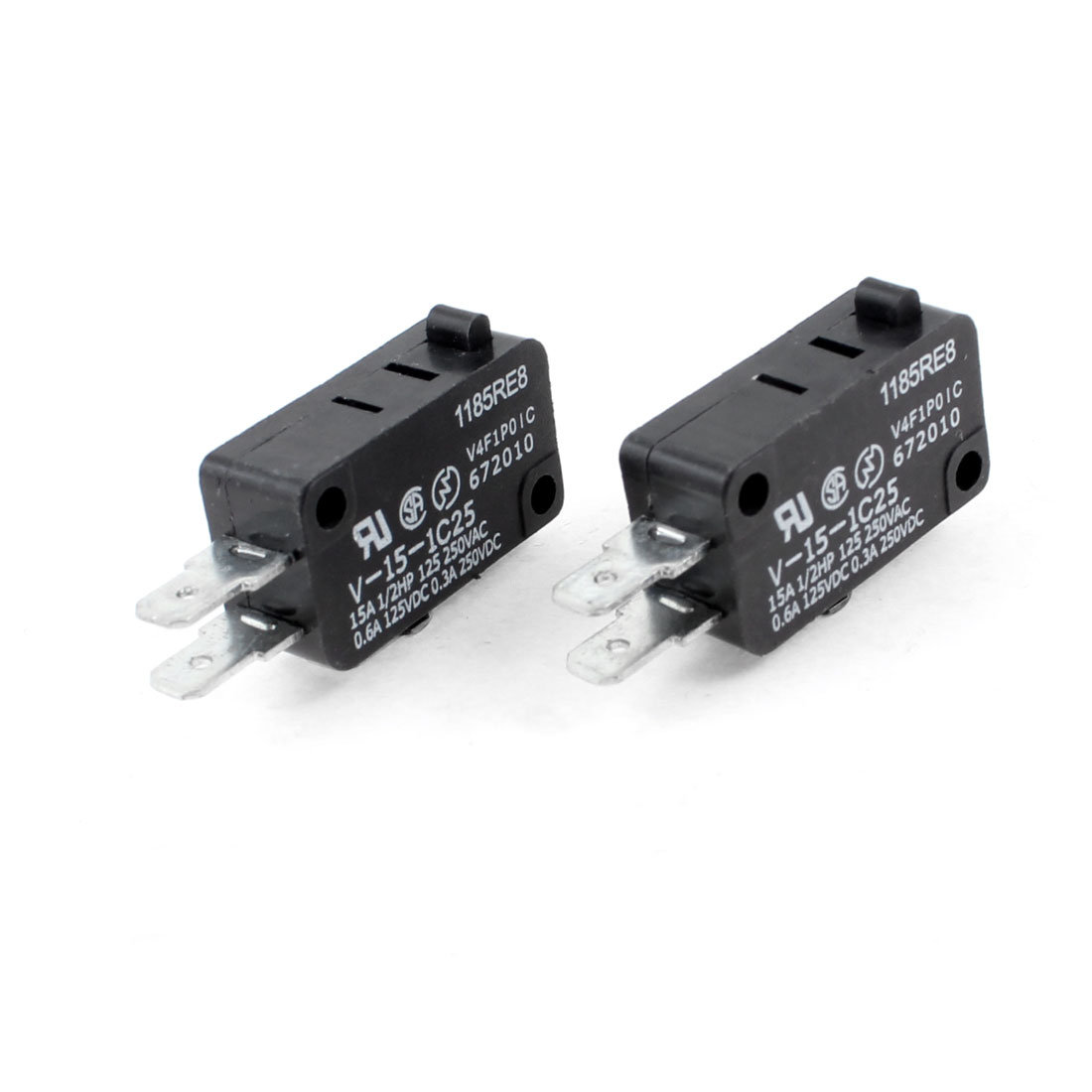 2 x DC 250V/0.3A 125V/0.6A 3 Terminal SPDT 1NO 1NC Push Button Micro Switches