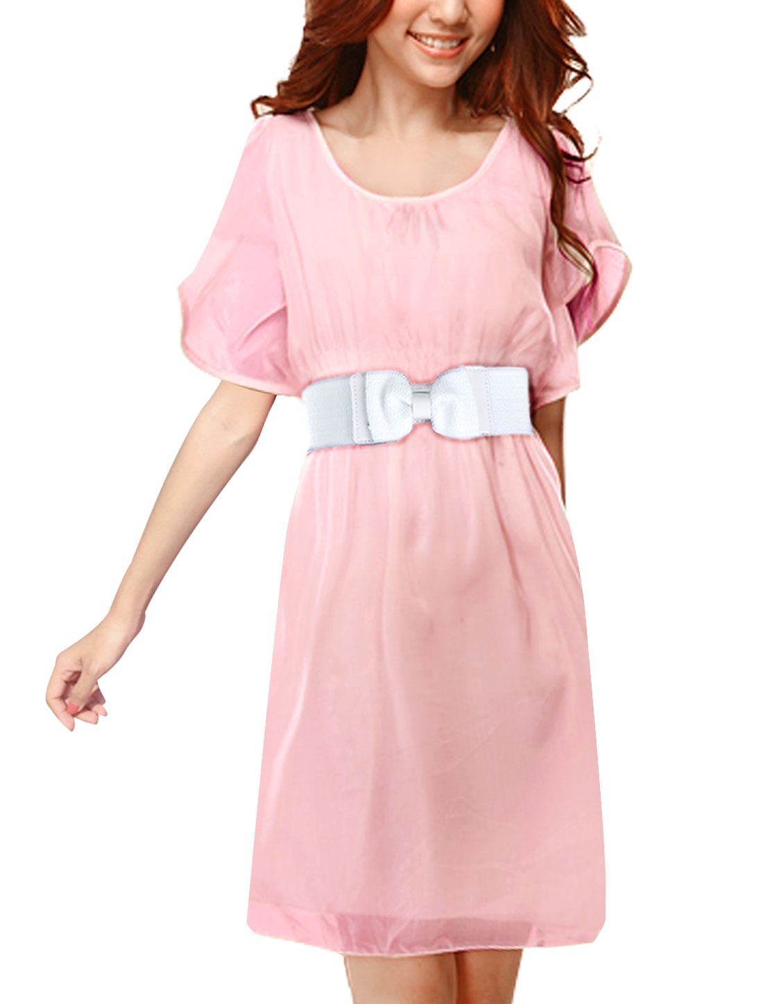 Woman Chic Scoop Neck Short Ruffled Sleeve Pink Belted Above Knee Dress M