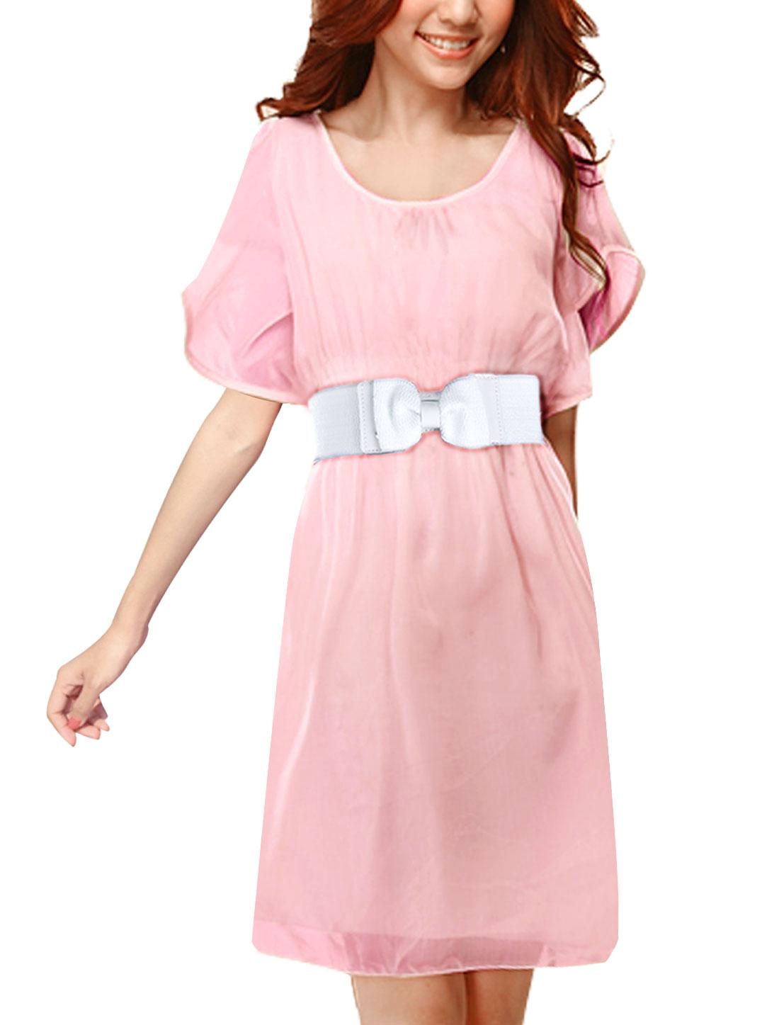 Stylish Ladies Pink Elastic Waist Above Knee Dress w Bowtie Decor Belt L