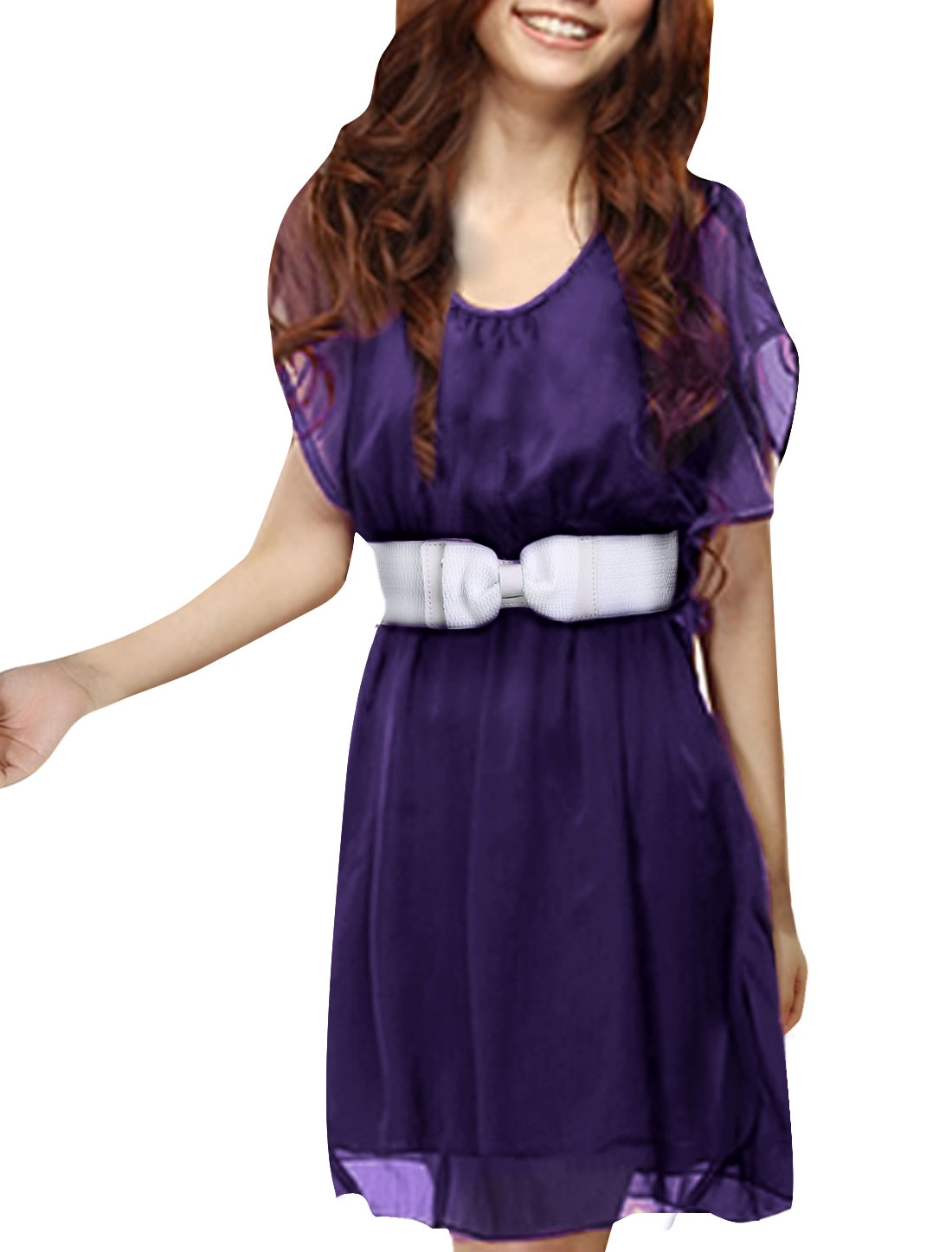 Woman Stylish Dark Purple Short Ruffled Sleeve Belted Above Knee Dress L