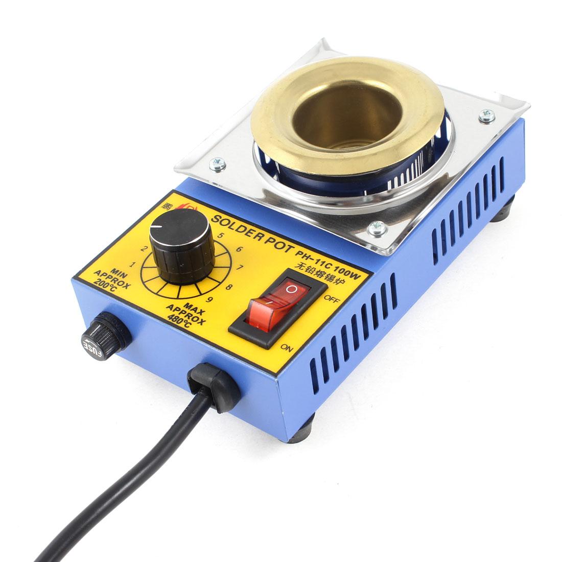 AU Plug 220VAC 100W Temperature Adjustable Stainless Steel Solder Pot