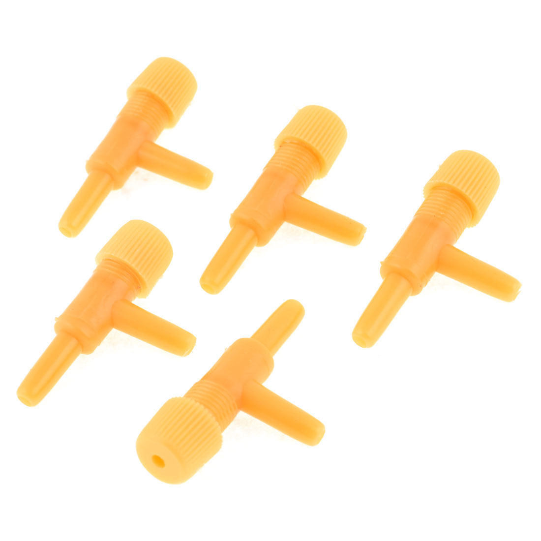 Aquarium Yellow Plastic Round Outlet Air Control Valves Tube Adapter 5pcs