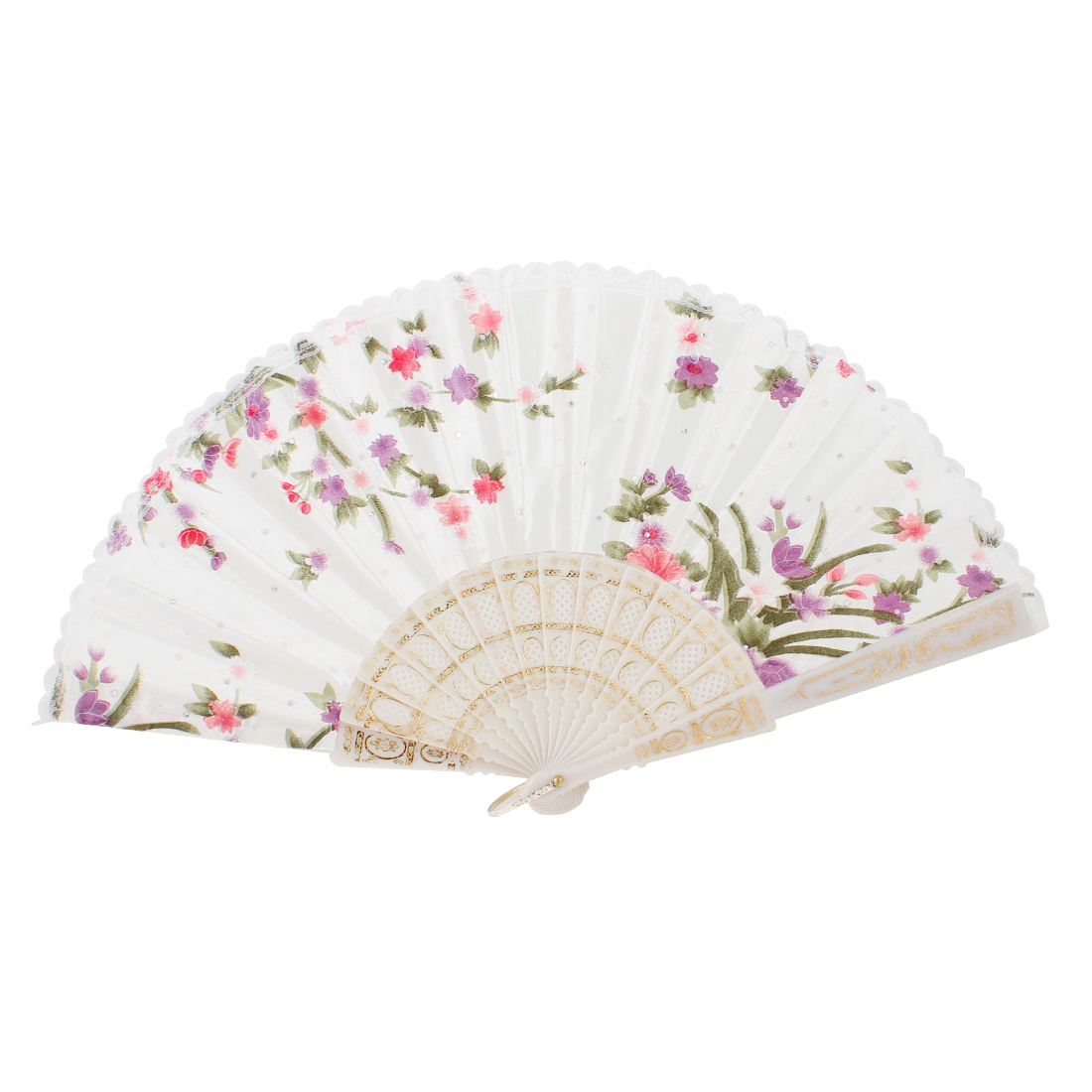 Colorful Flower Plant Pattern White Lace Trim Hand Fan for Dancing