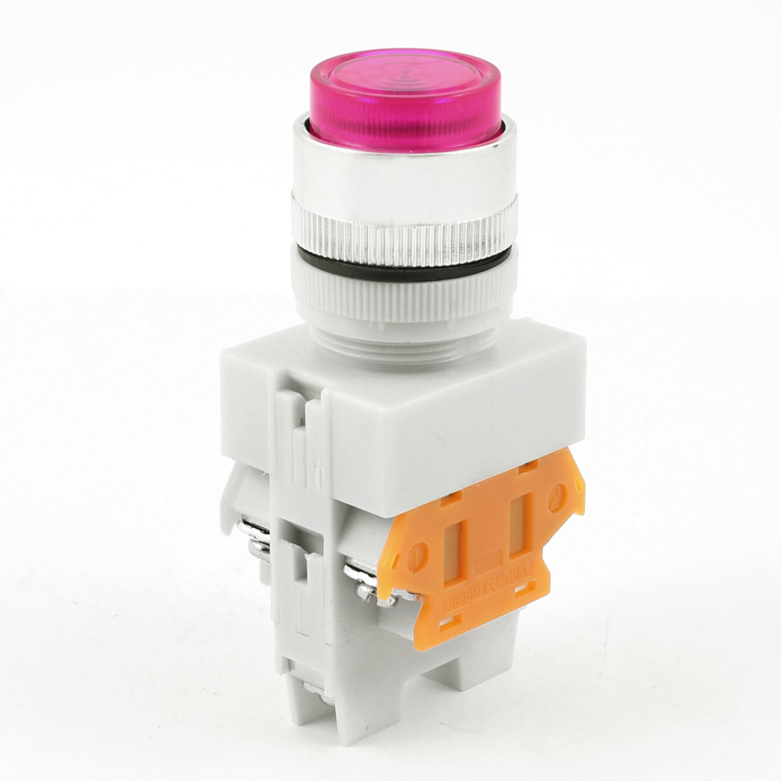 660V 10A 1NO 1NC Fuchsia Round Head Selector Latching Push Button Switch