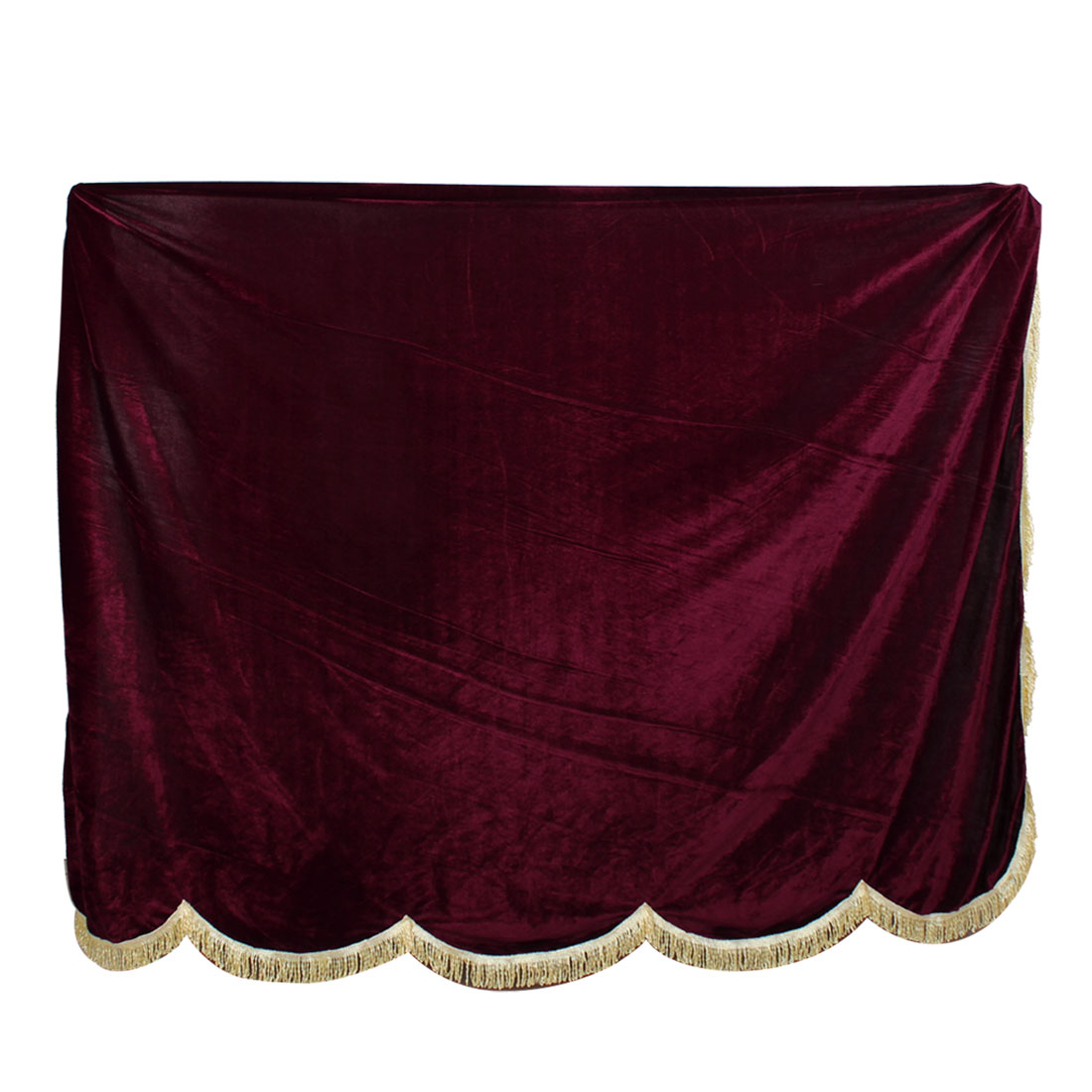 "Dustproof Scalloped Edge Design Pleuche Piano Full Cover Burgundy 76"" x 32"""