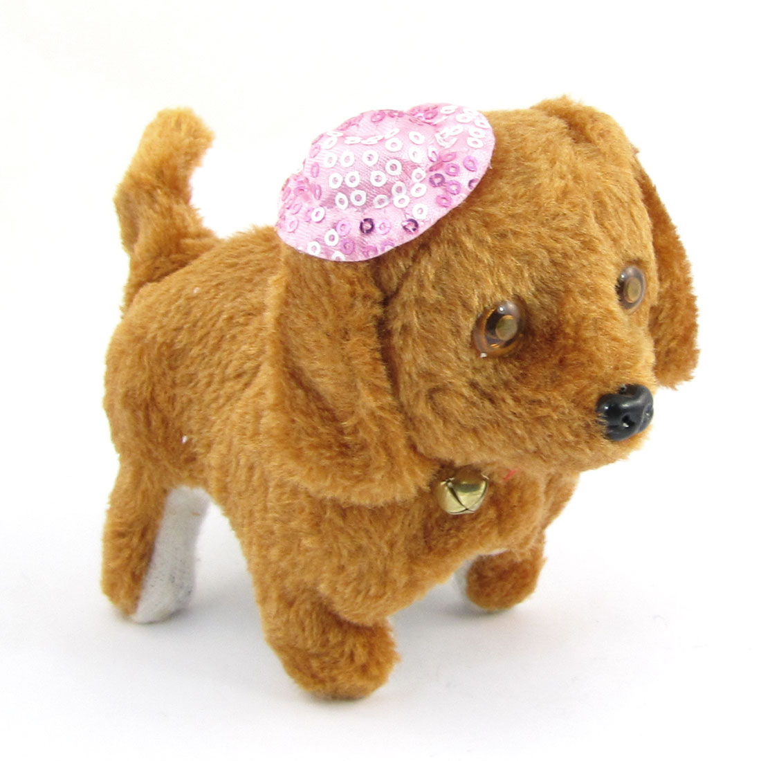 Child Pink Cap Decor Grown Plush Walking Barking Electronic Dog Toy