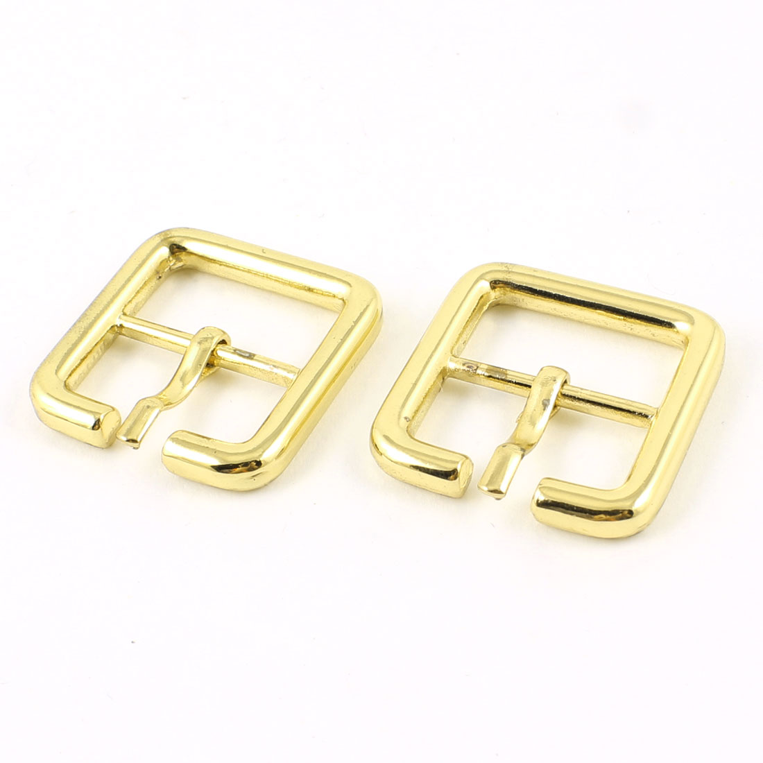 2 Pcs Metal Square Shaped High Heel Shoes Component Buckles Gold Tone