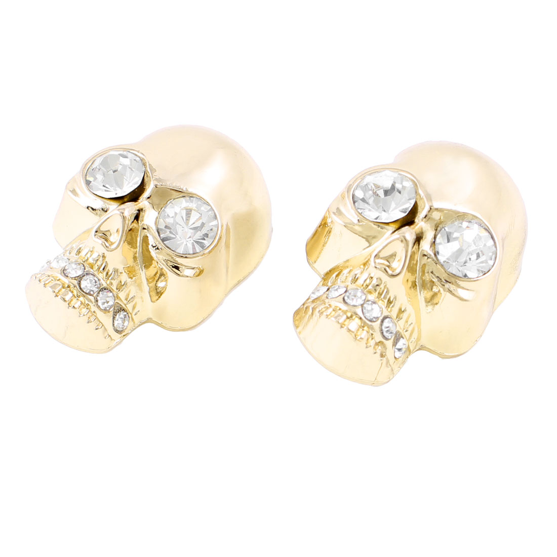 Rhinestone Coated Skull Heads Design Shoe Clips 2 Pcs Gold Tone