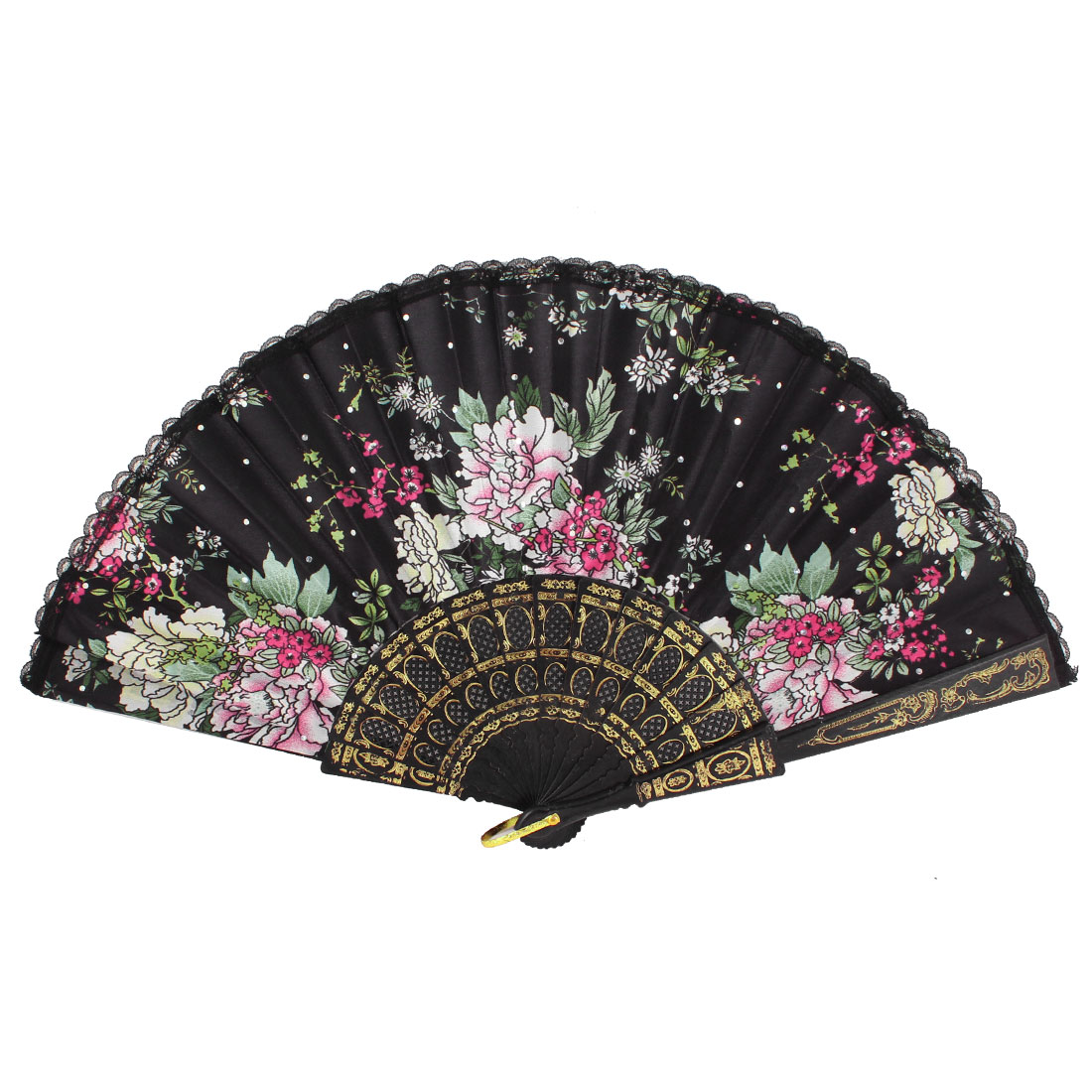 Black Lace Hem Decor Colorful Peony Pattern Folding Cooling Hand Fan
