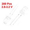 200 Pcs 2.8-3.2 V 5mm Head Dia White LED Light Emitting Diode