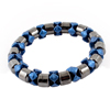 Elastic Band Linked Brown Dark Gray Blue Magnetic Bracelet for Lady