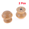 "2 Pcs Drawer Screws Mount 0.94"" Dia Wood Wooden Round Pull Knobs Beige"