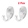 "Bathroom Clothes Towel Wall Fixed Hooks Hanger Silver Tone 2"" Long 2 Pcs"
