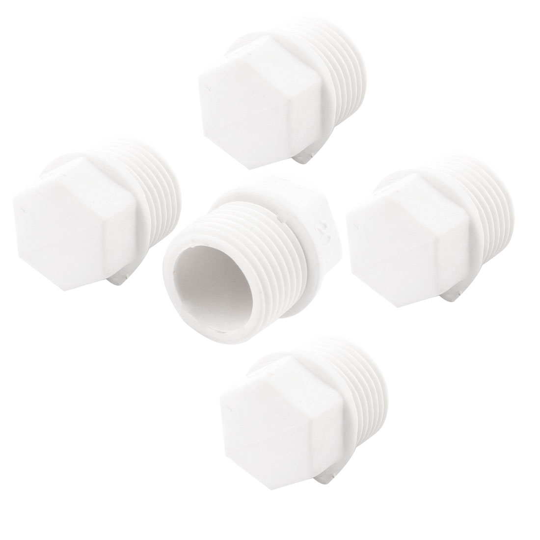 "5 Pieces 1/2"" PT Thread White Plastic Hex Head Pipe Plug Fitting"