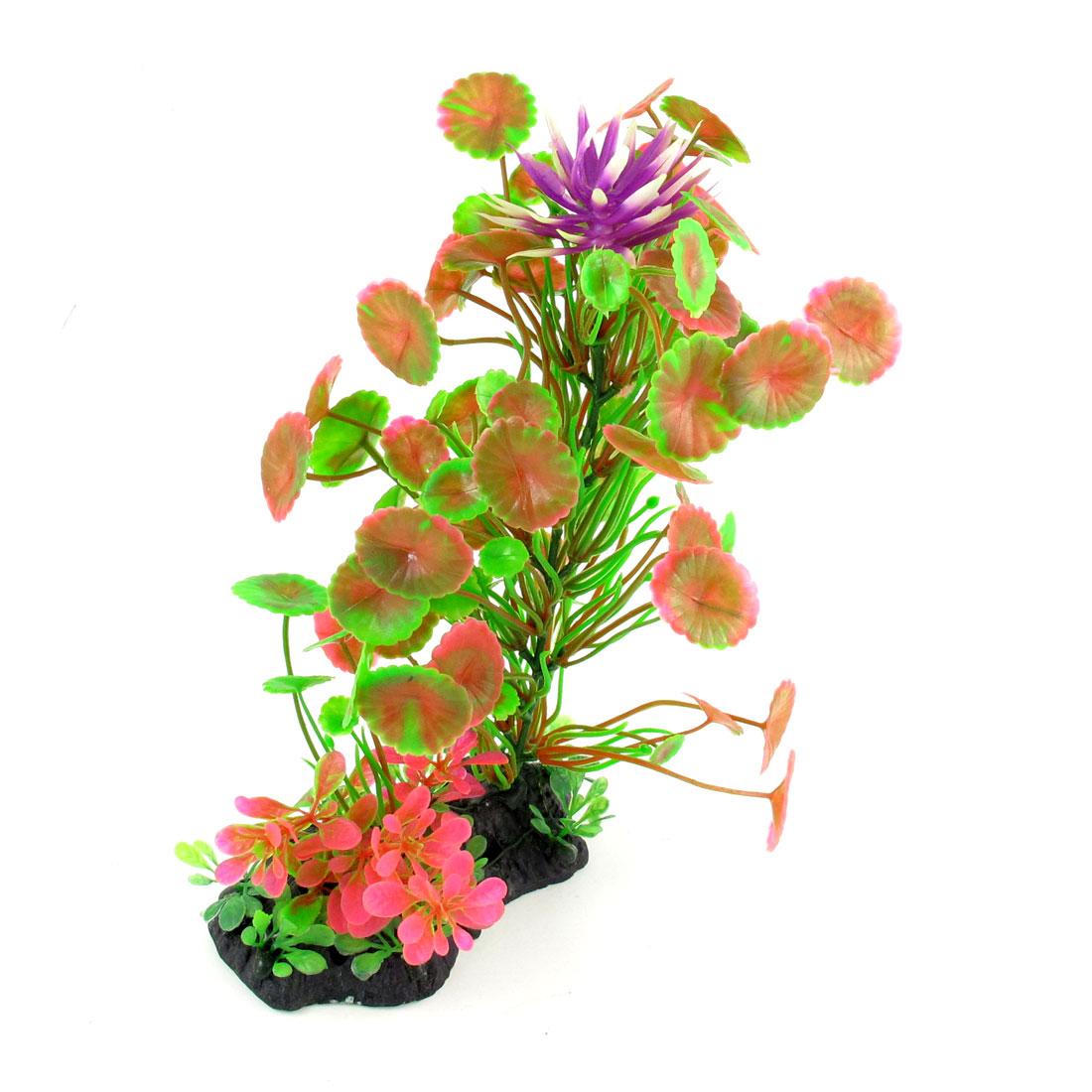22cm High Manmade Aquatic Plastic Grass Plant Green Pink for Fish Tank Aquarium