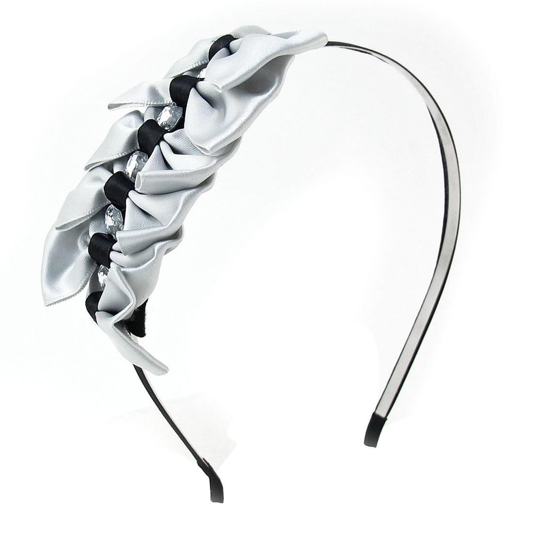 Gray Black Bowties Detail Metal Slim Frame Headband Hair Loop for Ladies