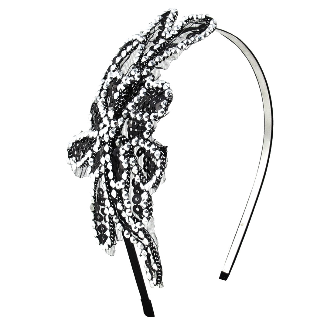 Woman Black Sequins Inlaid Flower Shape Oranment Metal Hair Hoop Hairband