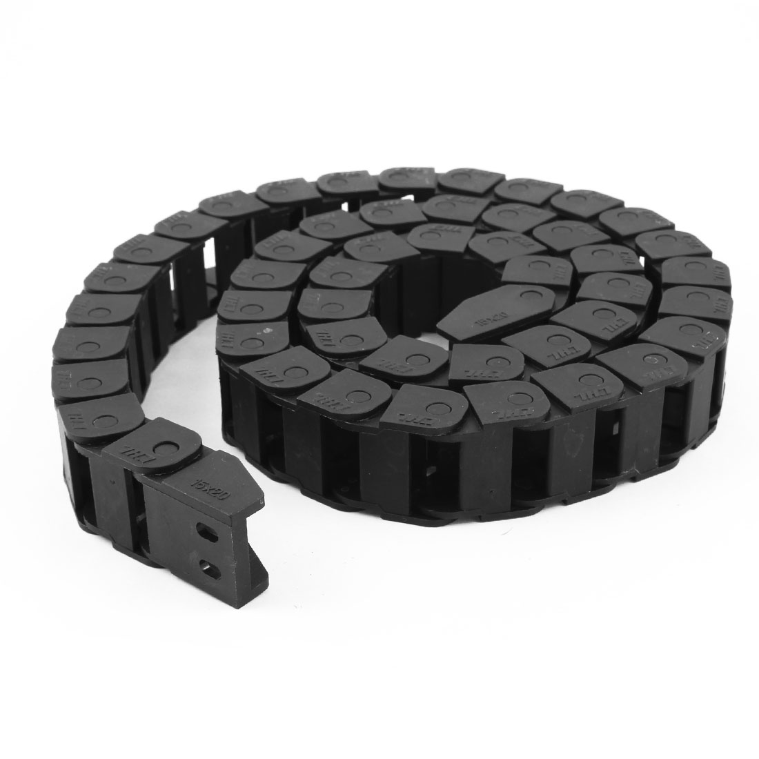 Machine Tool 1 Meter 3.3Ft Long Plastic Cable Drag Chain 15mm x 20mm Black