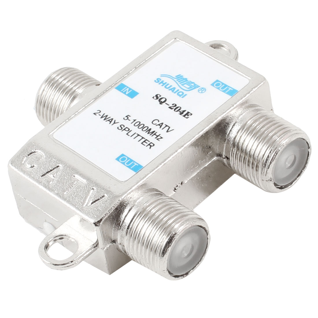 5-1000MHz Coaxial Signal CATV 2 Way Splitter Silver Tone w Screws