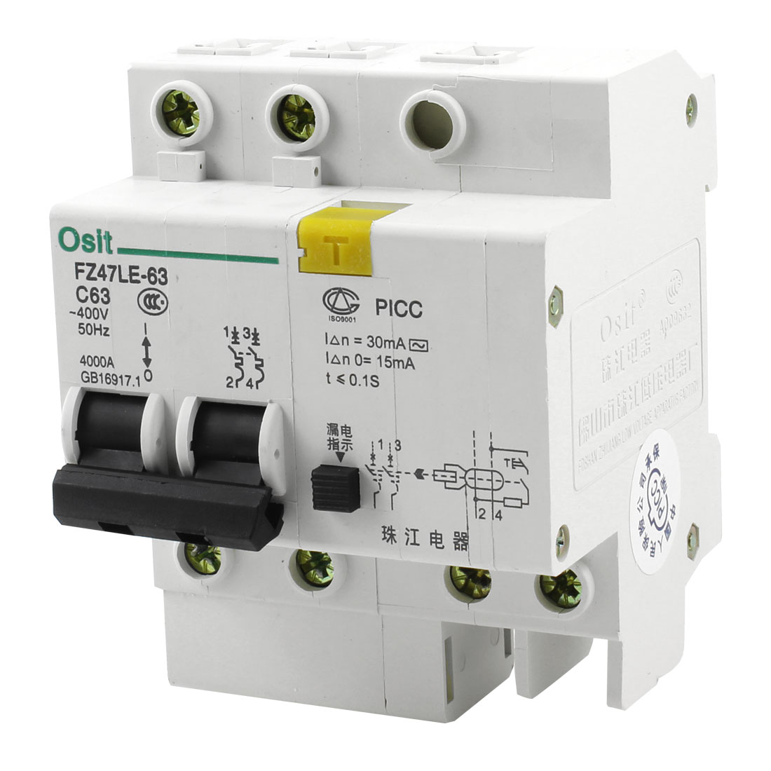 DIN Dail 2P Overload Proetction Circuit Breaker AC 400V 63A C63 4000A FZ47LE-63