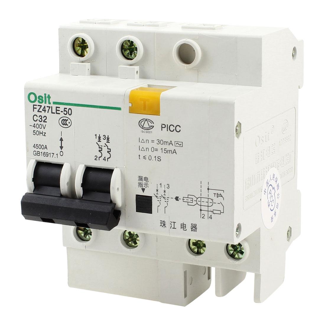 4500A Breaking Capacity 2 Poles 2P+1N Leakage Circuit Breaker AC 400V 32A