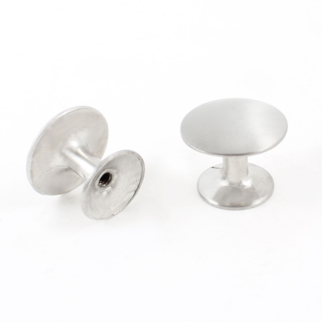2pcs Silver Tone 24mm Dia Round Metal Door Knob Pull for Cupboard Closet