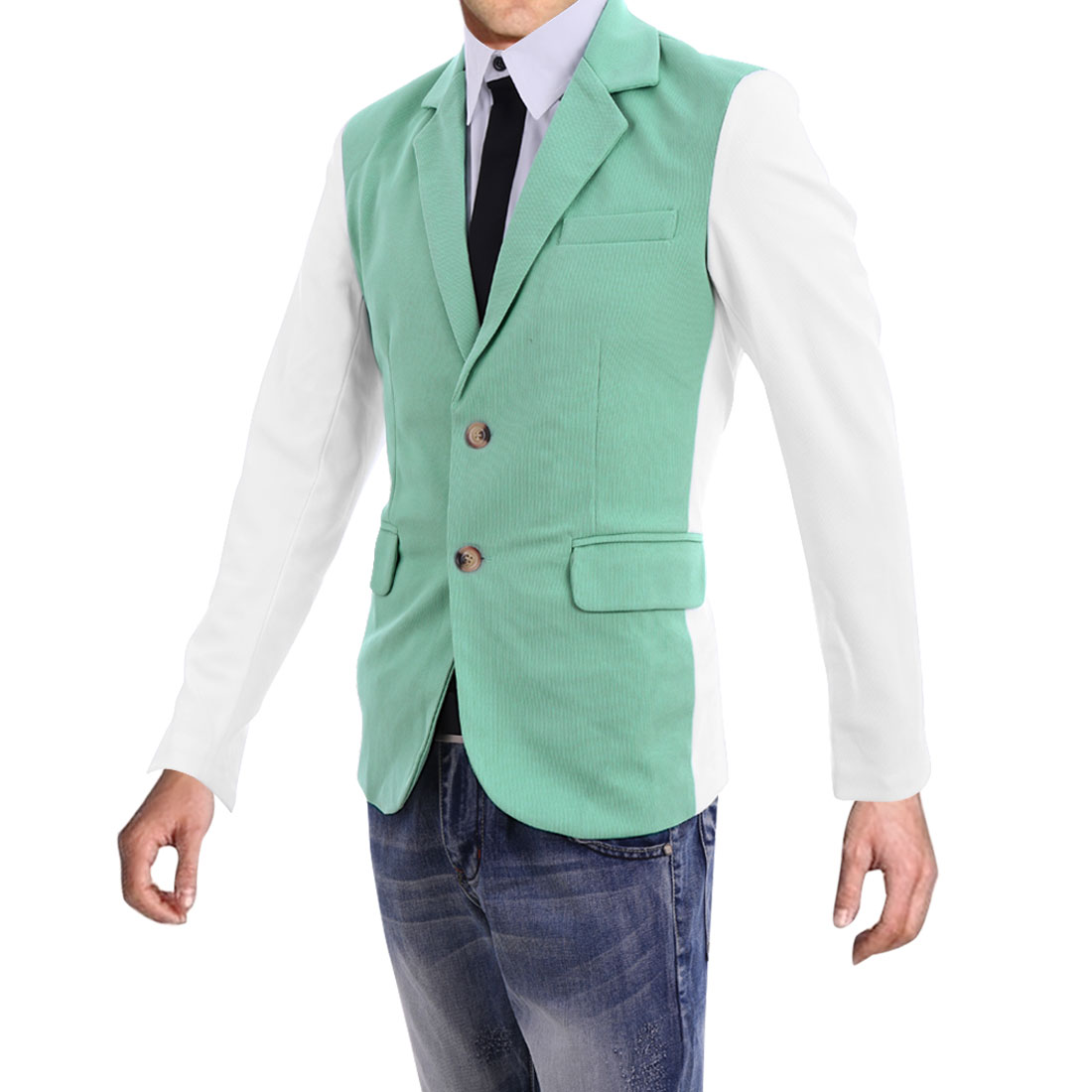 Men Chic Padded Shoulder Long Sleeve Mint White Slim Fit Blazer Coat M