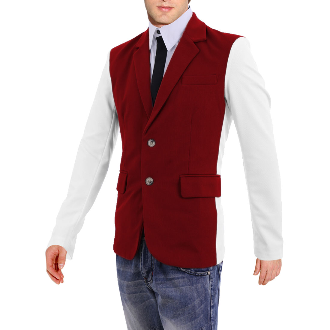 Stylish Color Blocking Red White Two-Button Closure Blazer Coat for Man M