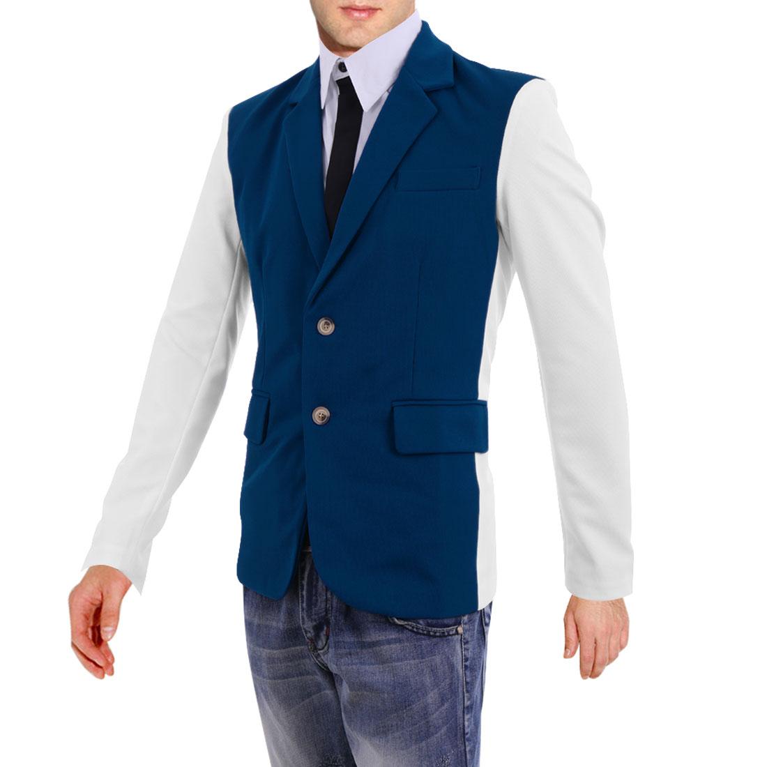 Mens Fashion Long Sleeve Padded Shoulder Blue White Casual Blazer Coat M