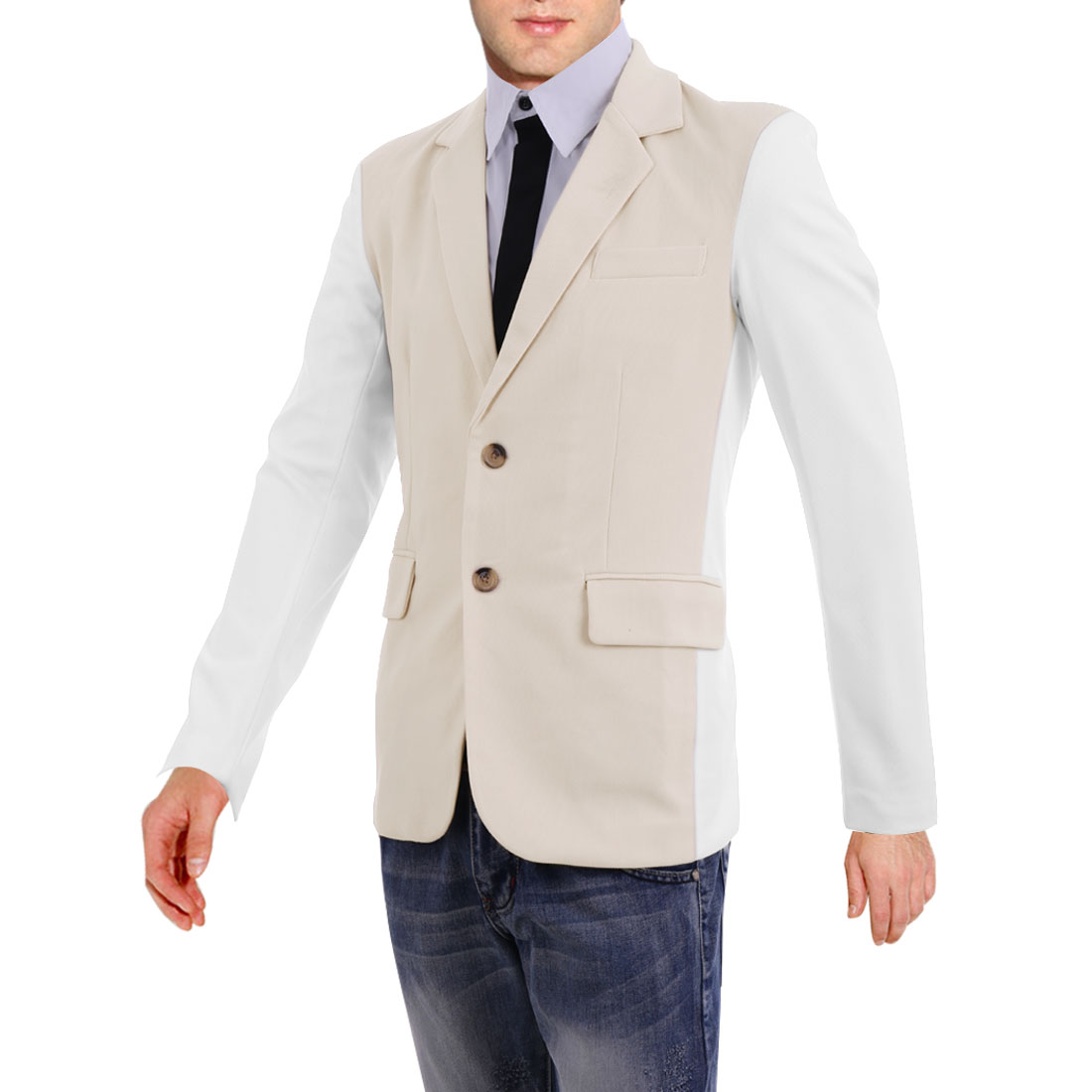 NEW Notched Lapel Padded Shoulder Color Blocking Beige White Blazer for Man M