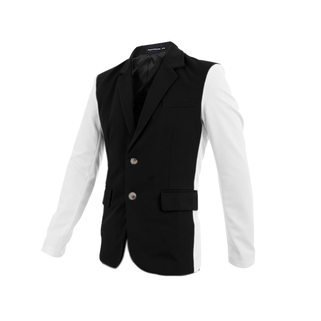 Man Notched Lapel Long Sleeve Contrast Color Black White Blazer Coat M