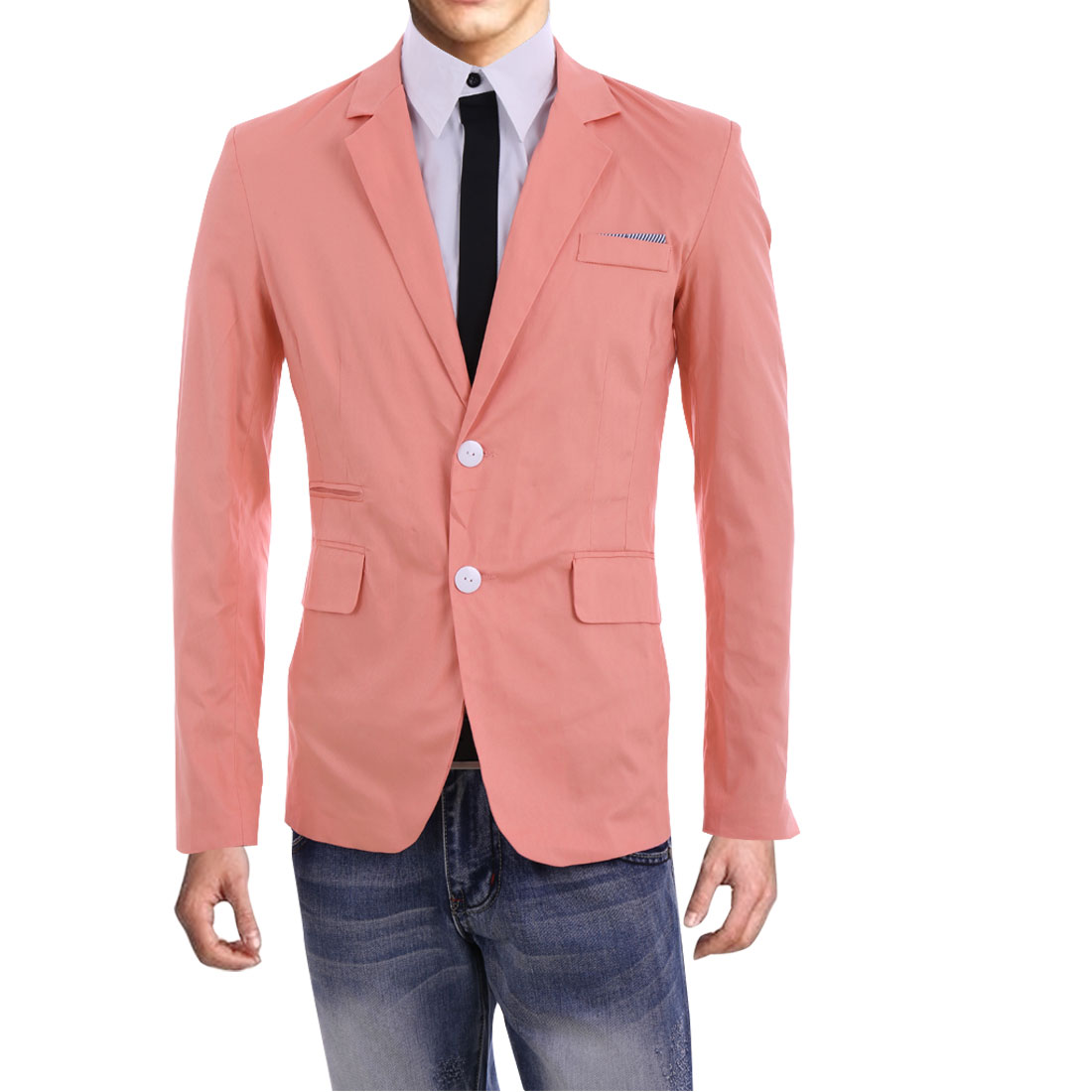 Men Point Collar Padded Shoulder Casual Blazer Pink M