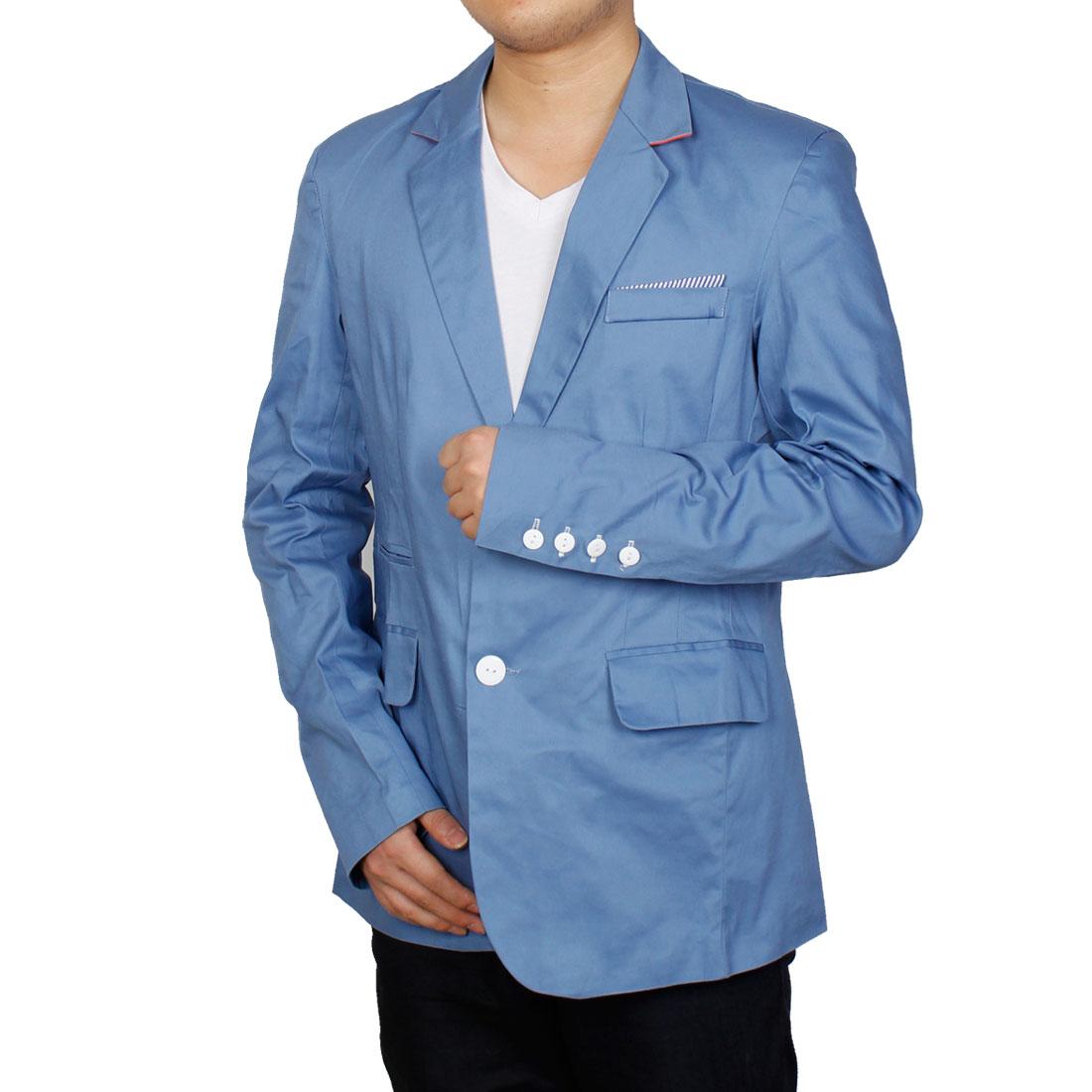 Men Single Breasted Point Collar Blazer Light Blue M