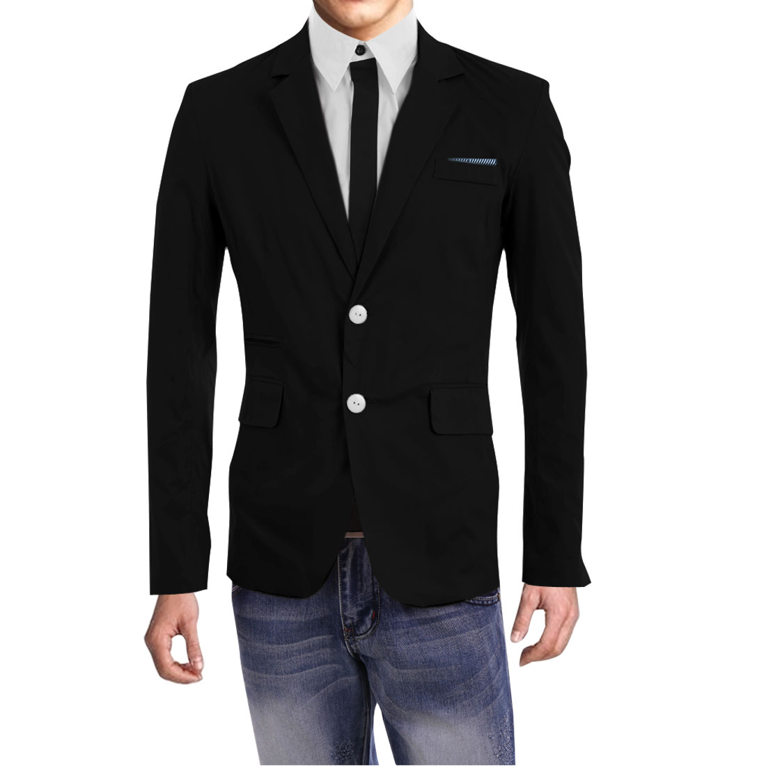 Men Single Breasted Buttoned Cuffs Blazer Black M