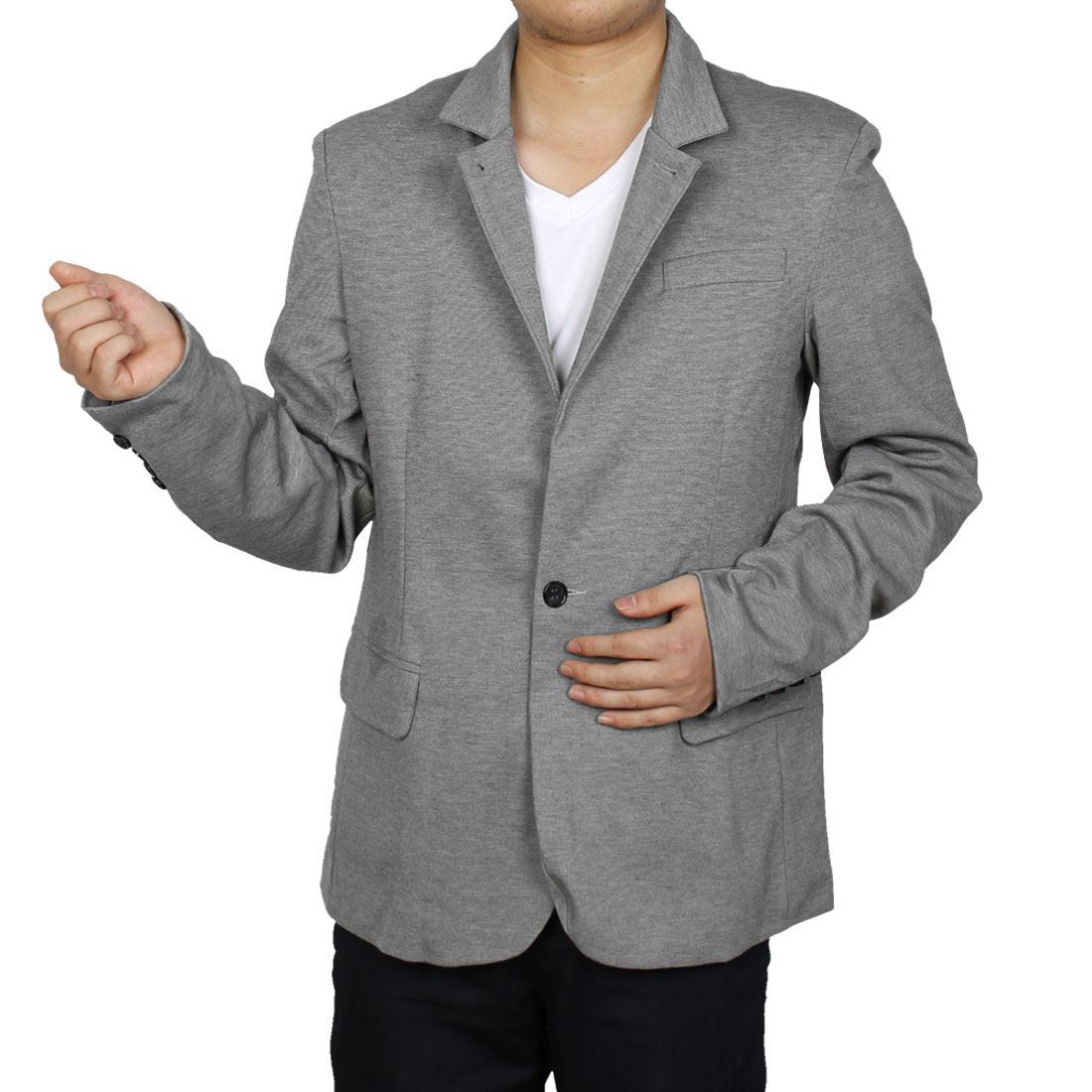 Men Two Button Closure Long Sleeve Leisure Blazer Gray M