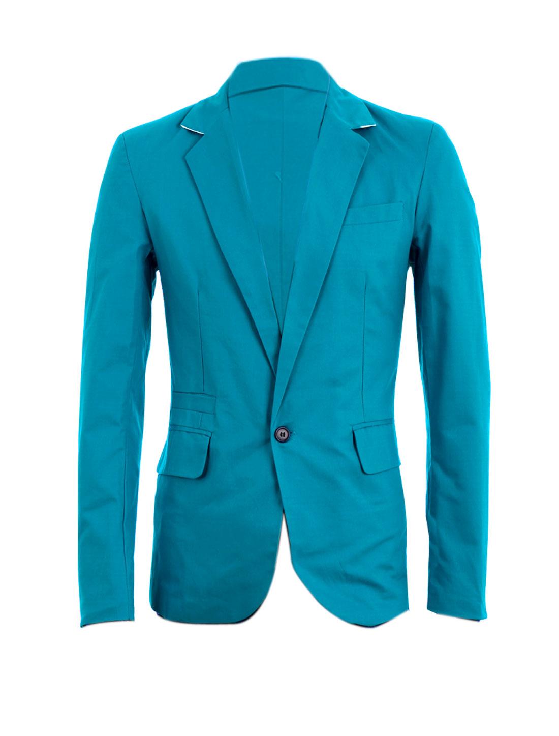 Men One Button Closure Chest Pocket Blazer Turquoise M