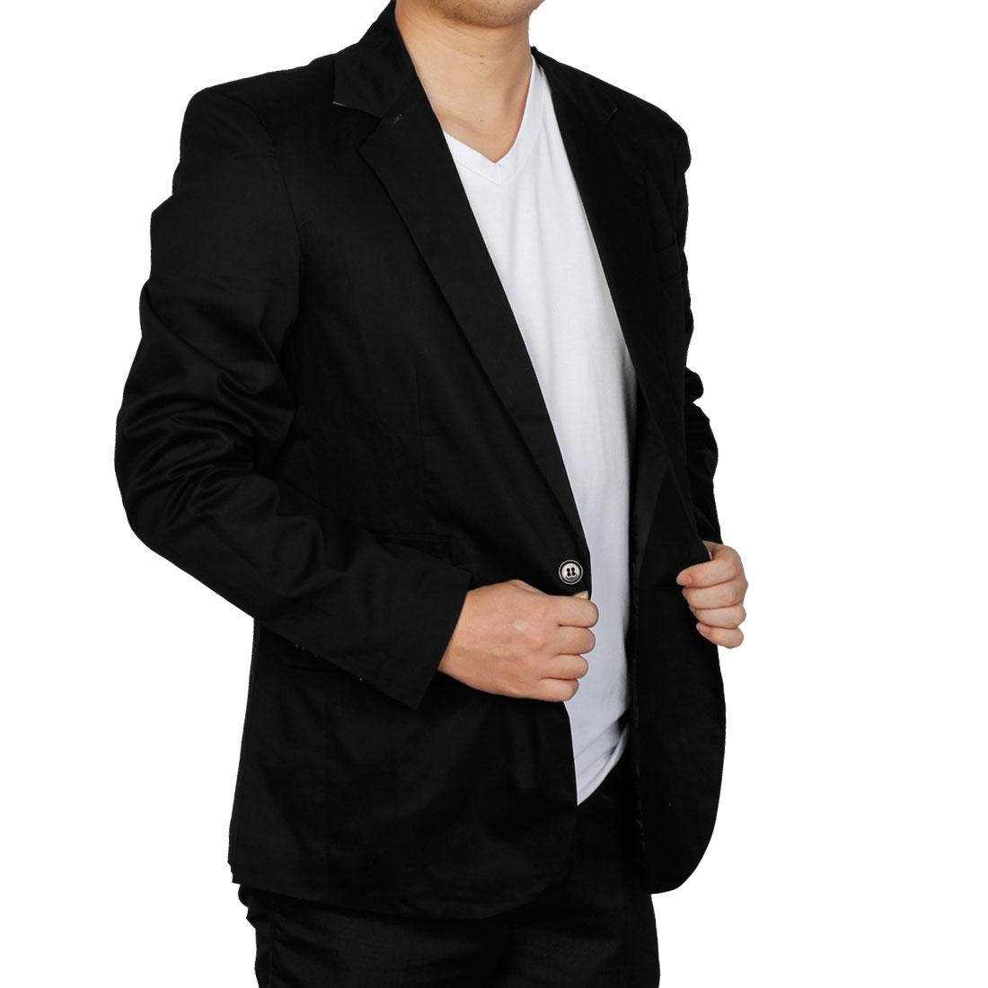 Men One Button Up Autumn Wearing Blazer Black M