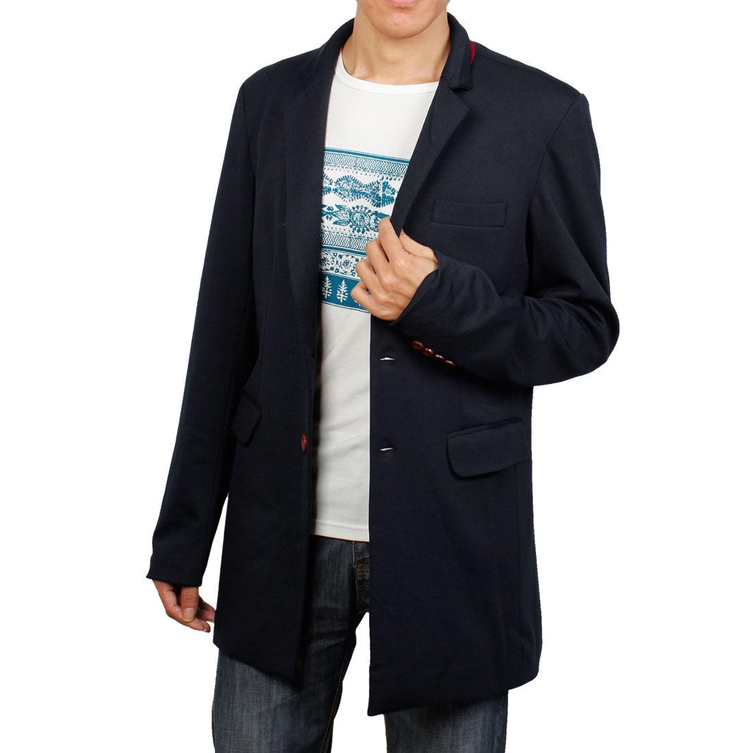 Navy Blue M Button Front Closure Chest Pocket Blazer Jacket for Men