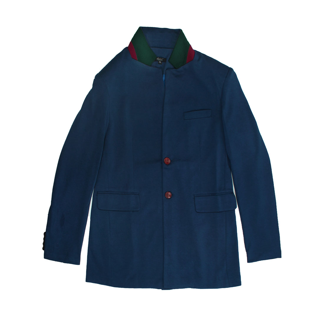 Blue M Flap Pockets Breast Pocket Skinny Fit Style Fashion Men Blazer