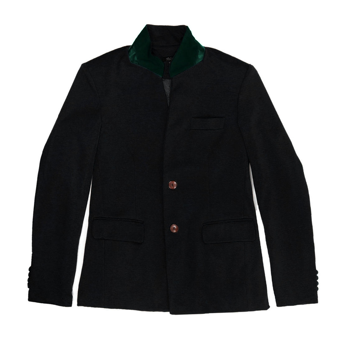 Men's Warm Mandarin Collar Pockets Two Button Design Black M Blazer Jacket