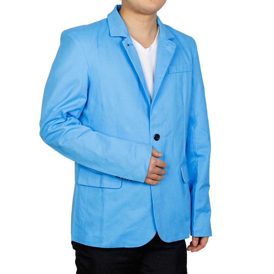 Men Stand Collar Long Sleeve Splice Blazer Light Blue M
