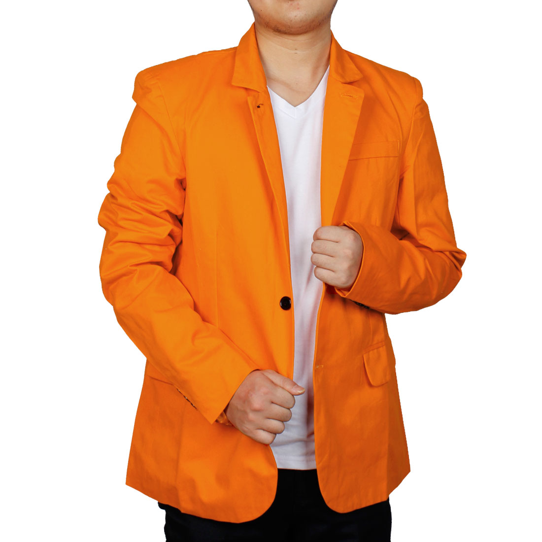 Men Stand Collar Single Breasted Casual Blazer Orange M