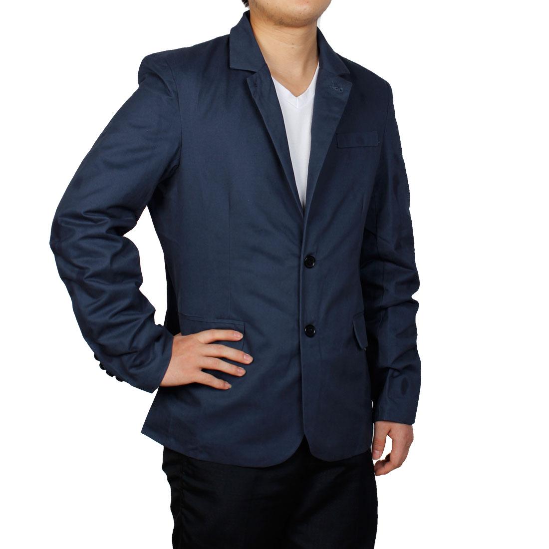Men Single Breasted Long Sleeve Blazer Navy Blue M