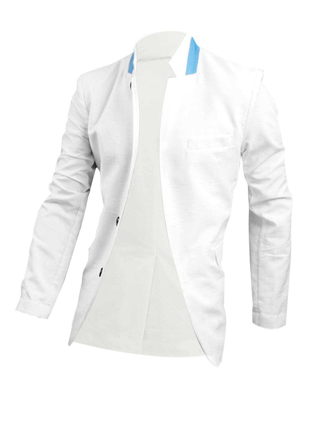 Men Button Closure Fake Chest Pocket Blazer White M